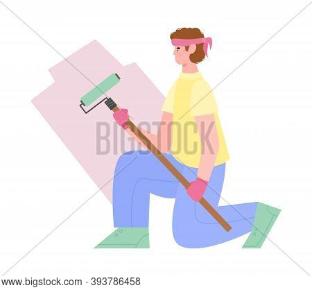 Craftsman, House Painter, Handyman Or Workman With Roller Painting White Wall Pink Paint. Constructi