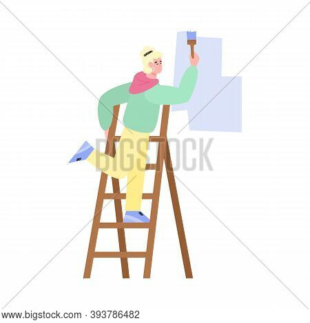 Craftsman Master Paints The Wall With A Brush, Standing On A Folding Ladder, Flat Cartoon Vector Ill