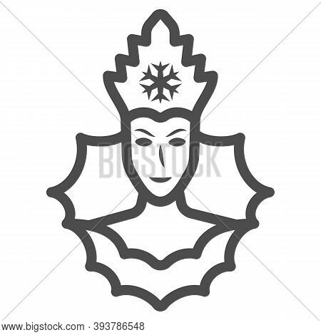 Snow Queen Line Icon, World Snow Day Concept, Ice Queen Sign On White Background, Winter Princess Ic