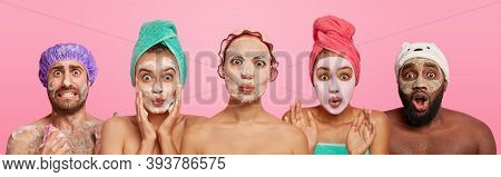Collage Shot Of Emotional People Wear Facial Masks For Having Healthy Skin And Complexion, Look Surp