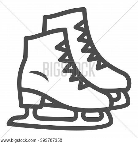 Skates Line Icon, New Year Concept, Skating Sign On White Background, Ice Skate Icon In Outline Styl