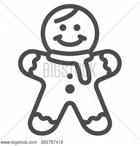 Gingerbread Man Line Icon, New Year Concept, Holiday Cookie In Shape Of Man Sign On White Background