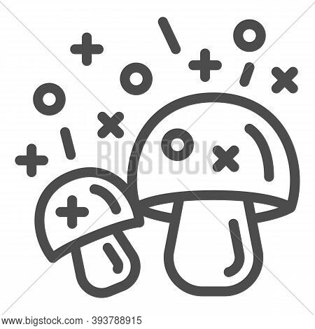 Hallucinogenic Mushroom Line Icon, Narcotic Substances Concept, Psychedelic Shrooms Sign On White Ba