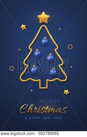 Christmas Greeting Card Minimal Design With Golden Metallic Christmas Tree, Blue Balls Bauble And Go