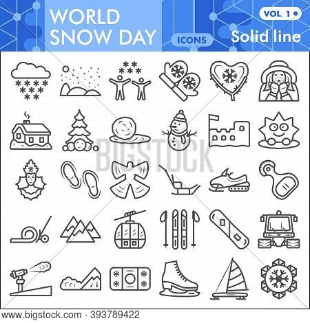 World Snow Day Line Icon Set, Winter Weather Symbols Collection Or Sketches. New Year And Christmas