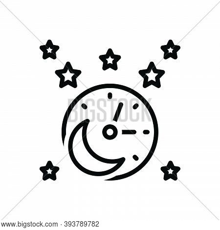 Black Line Icon For Tonight This-evening This-night Evening Moon Star Time Galaxy Cluster