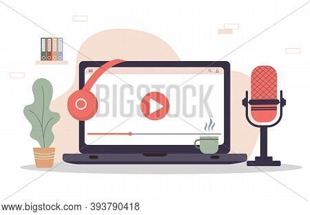 Podcast Concept. Equipment For Blogging, Webcasting And Broadcasting. Radio Host Workplace.