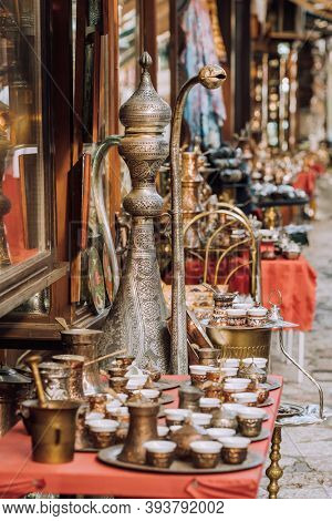Tradigional girf shops in historical center of Sarajevo, Bascarsija. Shopping bosnian souvenirs in Sarajevo old town