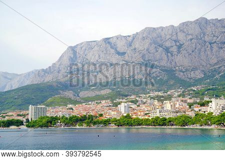 MAKARSKA, CROATIA, 20 SEPTEMBER, 2020: Touristic view of Makarska resort on the Dalmatian Coast, Croatia, Europe
