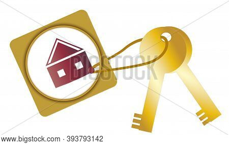 Apartment Keys On Keychain Shaped Rectangle With House Isolated On White Background.