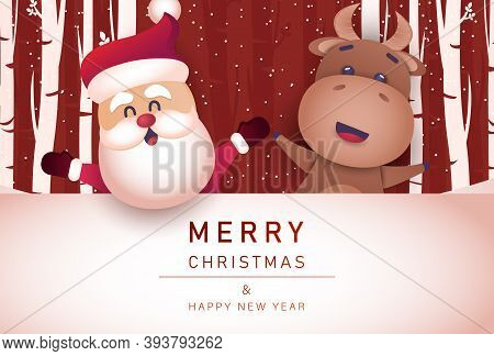 Merry christmas and happy new year 2021 greeting card with bull. Merry Christmas card vector Illustration.Christmas. Christmas Vector. Christmas Background. Merry Christmas Vector. Merry Christmas banner. Christmas illustrations