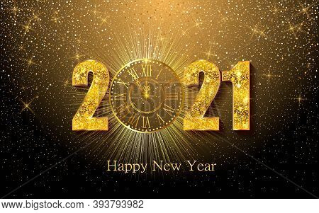 Happy New Year 2020. Vector Illustration With Gold Clock