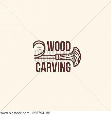 Logo Design Template For Wood Carving, Wood Shop, Carpenter, Woodworkers, Carver, Engraver, Wood Wor