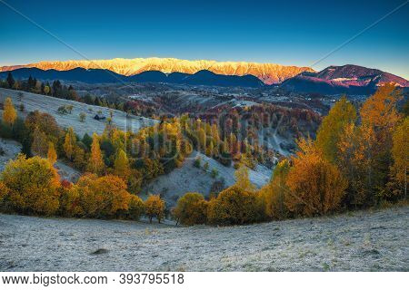 Beautiful Autumn Dawn Scenery With Dewy Grass And Colorful Deciduous Trees. Majestic Sunrise And Sno
