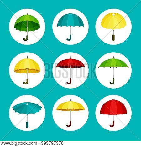 Colored Umbrellas Set. Convenient Green Protection Rain And Sun Yellow Meteorological Instrument Fro