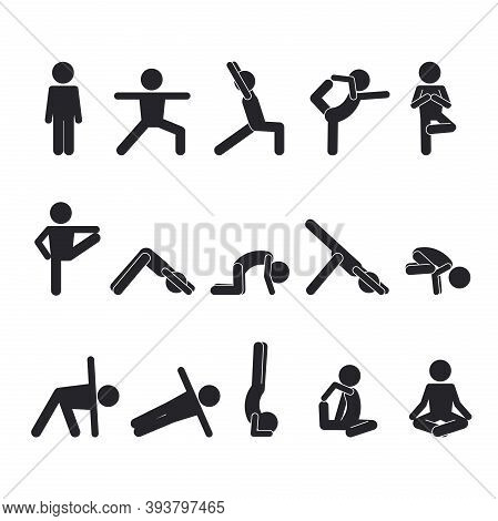 Yoga Human Stick Set. Abstract Oriental Postures Exercises For Healthy Body Development Complex Musc