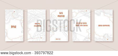 Contour Lines On Topographic Maps, Geographic Map Pattern. Vector Set Of Social Media Stories Templa