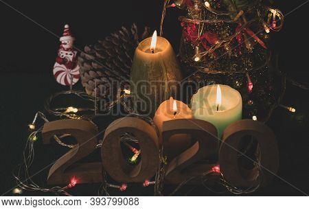 End Of The Year 2020 Ready With Candles, Christmas Trees, And Party Lights For A Luxurious Party, Ne