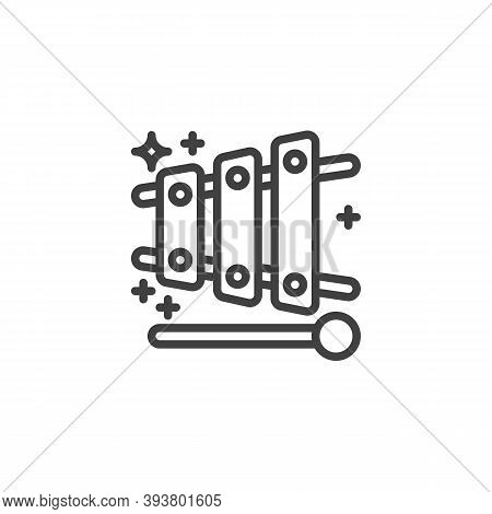 Xylophone Toy Line Icon. Linear Style Sign For Mobile Concept And Web Design. The Xylophone And Mall