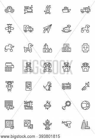 Baby Toys Line Icons Set. Linear Style Symbols Collection, Outline Signs Pack. Vector Graphics. Set