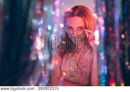 Christmas Party. Pandemic Festive Look. New Year Fashion Style. Glamorous Woman Touching Eyeglasses