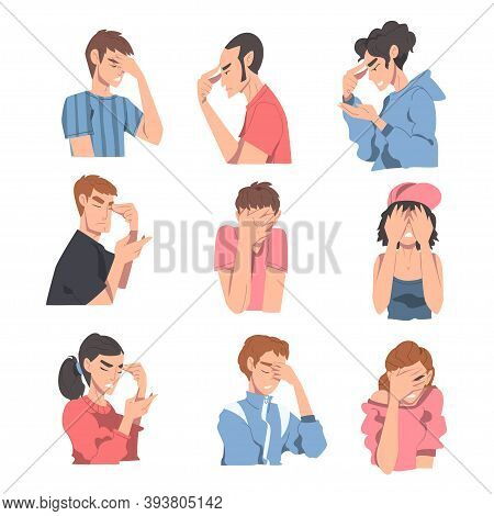 Embarrassed People Set, Regretful Persons Sorry And Apologizing Cartoon Style Vector Illustration