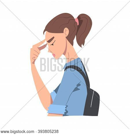 Embarrassed Young Woman, Regretful Person Sorry And Apologizing, Side View Cartoon Style Vector Illu