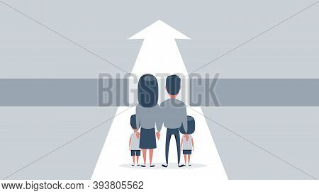 Family Life Difficulties, Obstacles On The Way. Married Couple With Children Are Standing Over Big G