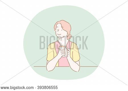 Hot Drink, Tea, Coffee, Warming Up With Drink Concept. Young Smiling Woman Cartoon Character Sitting