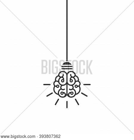 Line Bulb With Brain And Rays On Nlue Background. New Idea, Intellect Sign. Smart, Clever, Creative