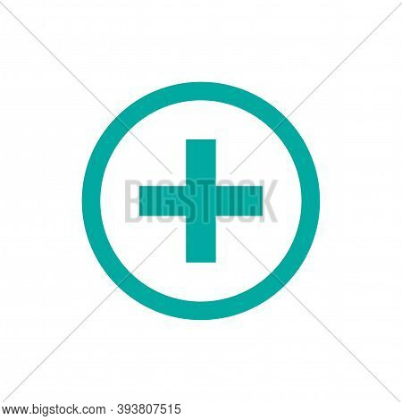 Blue Plus In Blue Circle. Flat Vector Icon Isolated On White. Add Or Plus Purchase Pictogram.