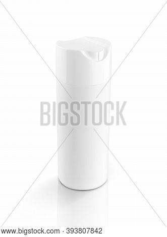Blank Packaging White Plastic Shampoo Bottle For Toiletry Or Sanitation Product Design Mock-up Isola