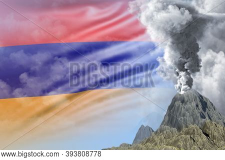 Volcano Blast Eruption At Day Time With White Smoke On Armenia Flag Background, Problems Of Natural