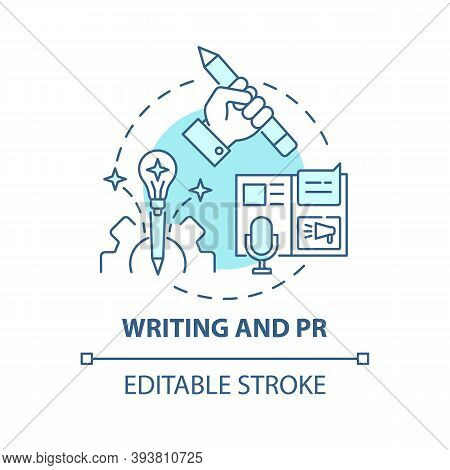 Writing And Pr Concept Icon. Top Careers For Creative Thinkers. Reach Your Target Clients. Public Re