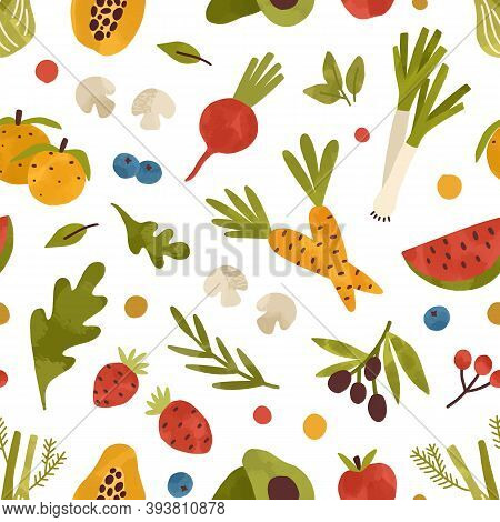 Colorful Seamless Pattern With Healthy Fruits, Vegetables, Berries And Greens. Endless Background Wi