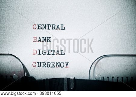 Central bank digital currency phrase written with a typewriter.