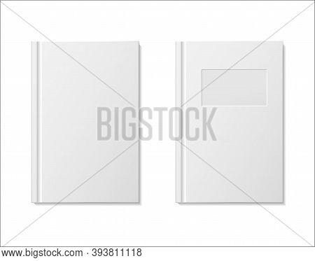 Paper Book Mockup Vector. White Blank Notebook On Bookshelf For Store. Vector Template Books Paperba
