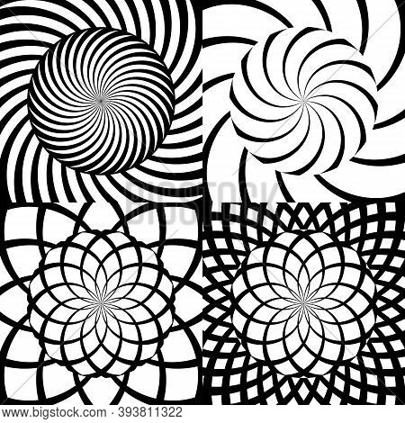 Set Of Vector Psychedelic Spiral Patterns. Black And White Abstract Volute Concentric Lines Wallpape