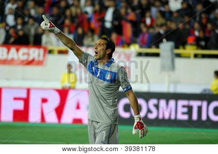 YEREVAN - OCT. 12:Gianluigi Buffon of Italy National Team during the match Armenia-Italy 1:3 2014 FIFA World Cup qualification round October 12, 2012, Hrazdan stadium, Yerevan, Armenia