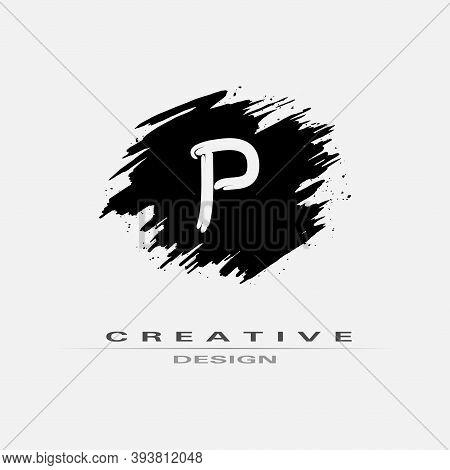 Letter P Logo With Brush Stroke And Splatter Elements. Handwritten Brush Stroke Letter P Logo Design