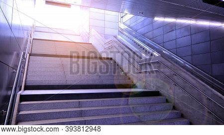The Stairs In The Subway, Entrance To Ground. Staircase In Metro Station In Modern City Space.