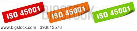 Iso 45001 Sticker. Iso 45001 Square Isolated Sign. Iso 45001 Label