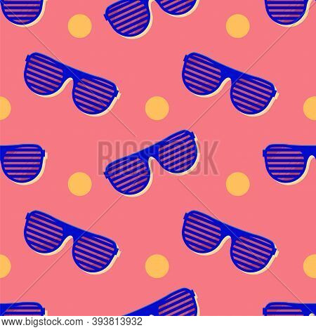 Hipster Sunglasses Seamless Pattern. Summer Fashion Vector With Sunglass. Colorful Wallpaper For You