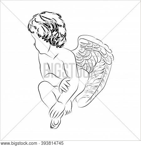 Vector Linear Illustration Of A Seated Cupid. Isolated Image Of A Turned Away Angel With Wings.