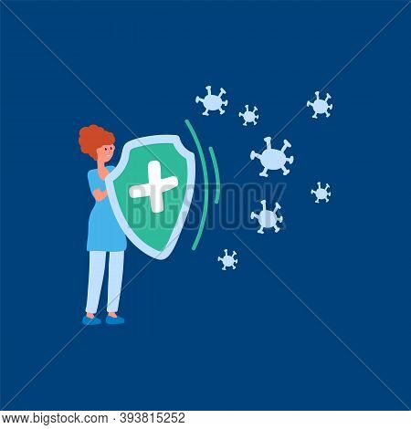 Illustration Of A Man With A Protective Shield. The Design Concept Of The Action Of The Vaccine. Vec