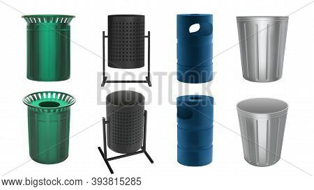 Trash Bin For City Streets And Parks. Metal Cans For Garbage And Waste. Vector Set In 3d Realistic S