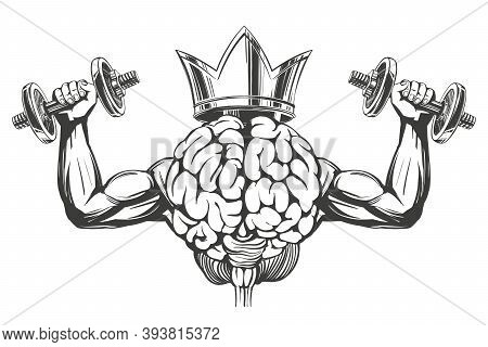 Brain And Crown With Strong Hands, Brain Training, Icon Cartoon Hand Drawn Vector Illustration Sketc