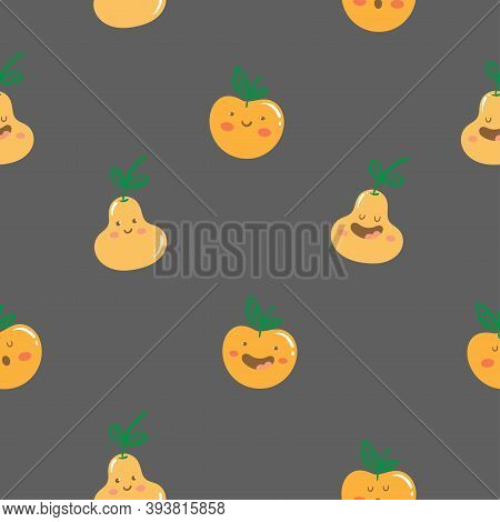 Seamless Pattern With Cute Cartoon Pears And Apples On  Dark Background. Funny Anthropomorphic Fruit