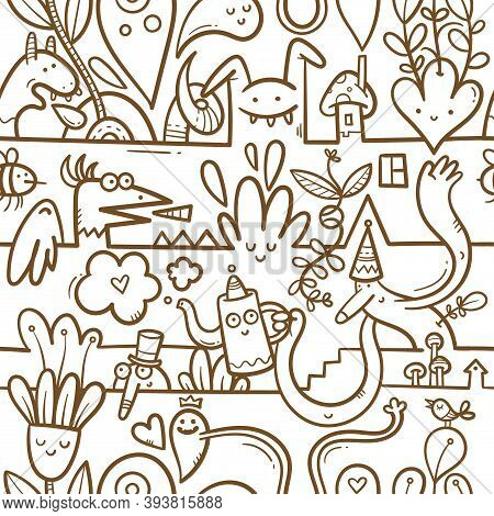 Seamless Surreal Pattern With Cute Cartoon Monsters On  White Background. Wallpapers With Various Cr