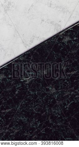 Beautiful Abstract Background For Social Media Stories Or Post. Black And White Marble. Empty Mockup